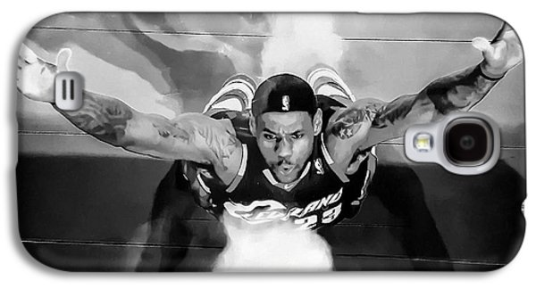 Lebron James Chalk Toss Black And White Landscape Painting Galaxy S4 Case by Andres Ramos