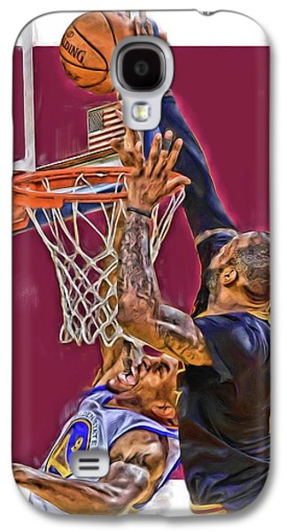 Lebron James Cleveland Cavaliers Oil Art Galaxy S4 Case by Joe Hamilton