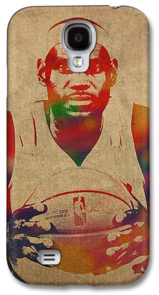 Lebron James Watercolor Portrait Galaxy S4 Case