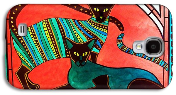 Galaxy S4 Case featuring the painting Legend Of The Siamese - Cat Art By Dora Hathazi Mendes by Dora Hathazi Mendes