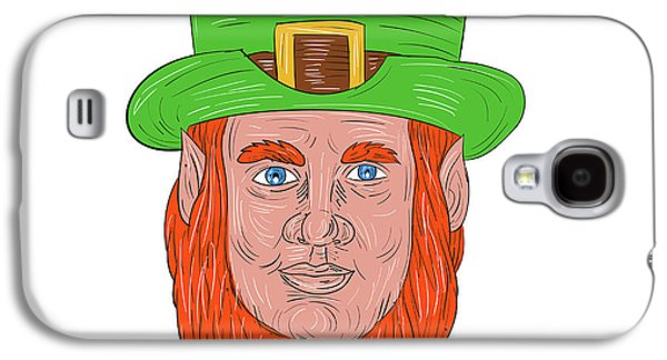 Leprechaun Head Front Drawing Galaxy S4 Case by Aloysius Patrimonio