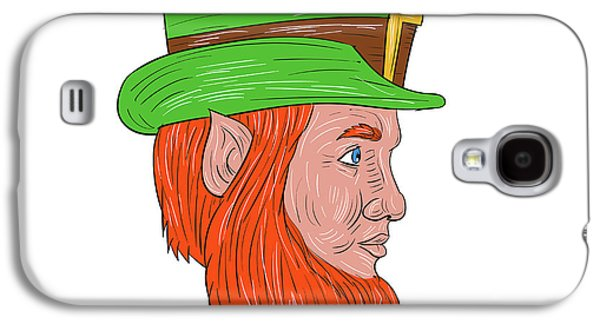 Leprechaun Head Side Drawing Galaxy S4 Case by Aloysius Patrimonio