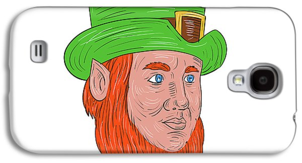 Leprechaun Head Three Quarter View Drawing Galaxy S4 Case by Aloysius Patrimonio