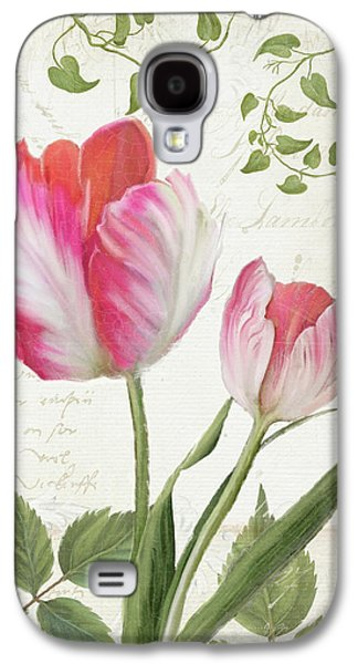 Les Magnifiques Fleurs IIi - Magnificent Garden Flowers Parrot Tulips N Indigo Bunting Songbird Galaxy S4 Case by Audrey Jeanne Roberts