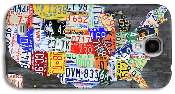 License Plate Map Of The United States Gray Edition 16 With Special Kodiak Bear Alaska Plate Galaxy S4 Case by Design Turnpike