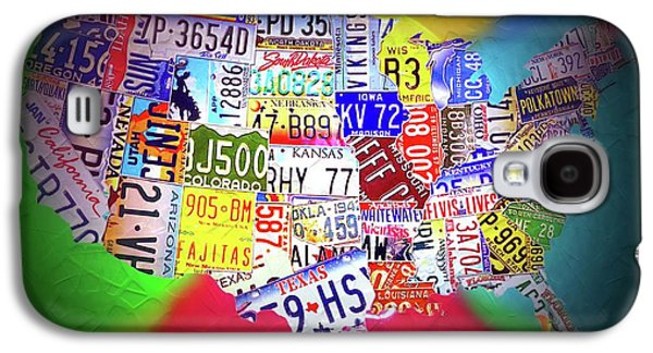 License Plate Map Of The United States Neon Galaxy S4 Case