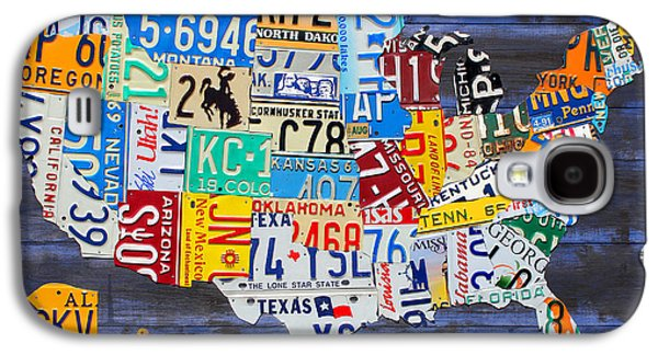 License Plate Map Of The Usa On Blue Wood Boards Galaxy S4 Case