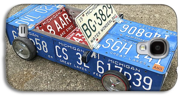 License Plate Vintage Roadster Mobile Made From Recycled Michigan Car Tags Galaxy S4 Case by Design Turnpike