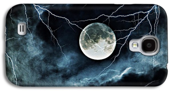 Lightning Sky At Full Moon Galaxy S4 Case by Marianna Mills