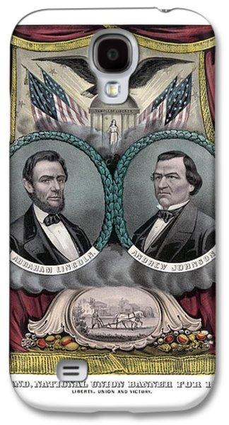 Lincoln And Johnson Election Banner 1864 Galaxy S4 Case by War Is Hell Store