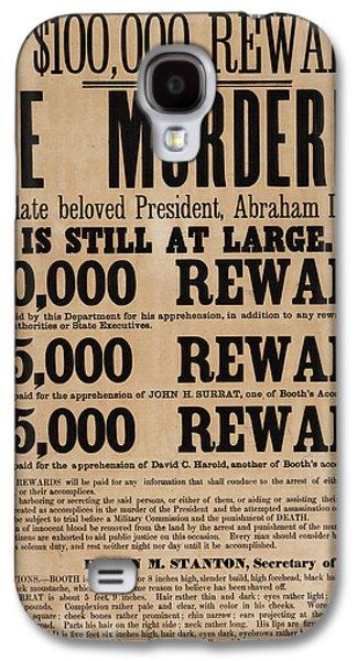 Lincoln Assassination Reward Poster Galaxy S4 Case