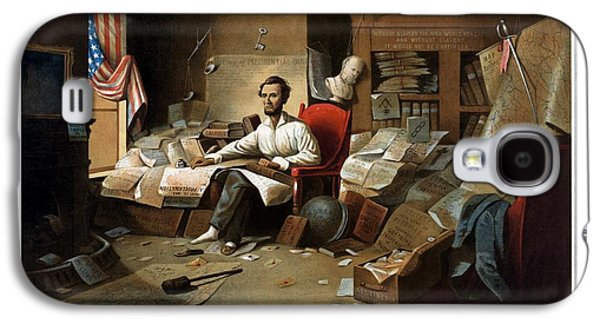Lincoln Writing The Emancipation Proclamation Galaxy S4 Case by War Is Hell Store