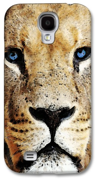Lion Art - Blue Eyed King Galaxy S4 Case by Sharon Cummings