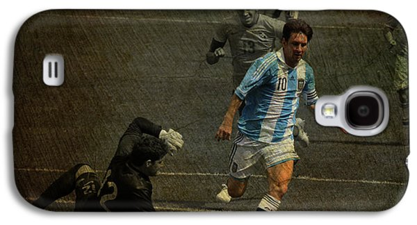 Lionel Messi Breaking Raphael Cabrals Ankles  Galaxy S4 Case by Lee Dos Santos