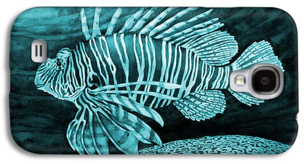 Lionfish On Blue Galaxy S4 Case by Hailey E Herrera