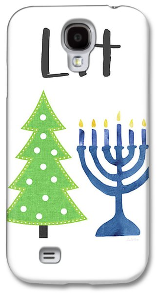 Lit Christmas And Hanukkah- Art By Linda Woods Galaxy S4 Case by Linda Woods