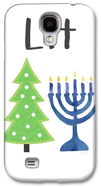 Lit Christmas And Hanukkah- Art By Linda Woods Galaxy S4 Case by Linda Woods
