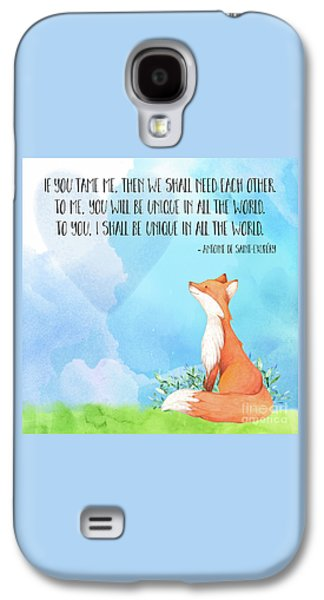 Little Prince Fox Quote, Text Art Galaxy S4 Case by Tina Lavoie