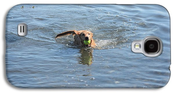 Little Red Duck Dog Swimming With A Tennis Ball Galaxy S4 Case by DejaVu Designs