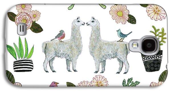 Llama Galaxy S4 Case - Llama And Luna Moth Pattern by Blenda Studio