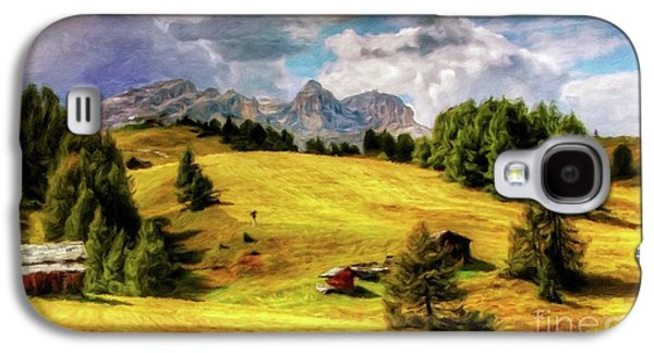 Log Cabin Landscape By Sarah Kirk Galaxy S4 Case by Sarah Kirk