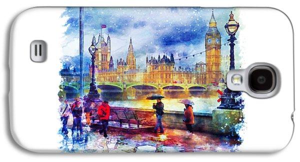 London Rain Watercolor Galaxy S4 Case by Marian Voicu