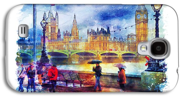 London Rain Watercolor Galaxy S4 Case by Marian Voicu
