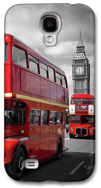 London Galaxy S4 Case - London Red Buses On Westminster Bridge by Melanie Viola