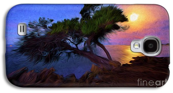 Lone Tree On Pacific Coast Highway At Moonset Galaxy S4 Case