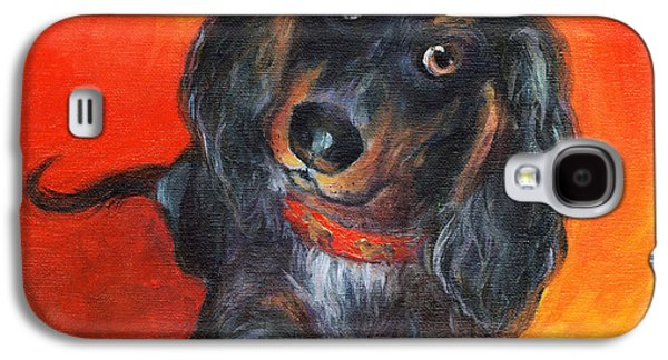 Cute Puppy Galaxy S4 Cases - Long haired Dachshund dog puppy Portrait painting Galaxy S4 Case by Svetlana Novikova