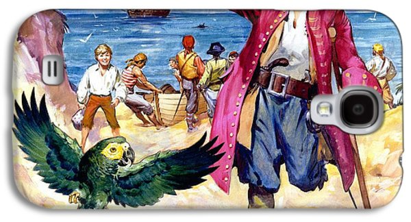 Long John Silver And His Parrot Galaxy S4 Case by James McConnell