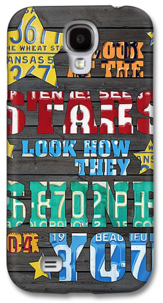 Look At The Stars Coldplay Yellow Inspired Typography Made Using Vintage Recycled License Plates Galaxy S4 Case by Design Turnpike