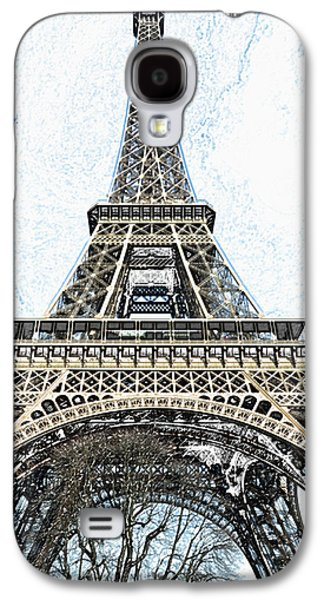 Looking Up At The Sunlit Face Of The Eiffel Tower In Paris France Colored Pencil Digital Art Galaxy S4 Case
