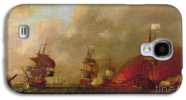 Lord Howe And The Comte Destaing Off Rhode Island Galaxy S4 Case by Robert Wilkins