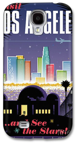 Los Angeles Retro Travel Poster Galaxy S4 Case by Jim Zahniser