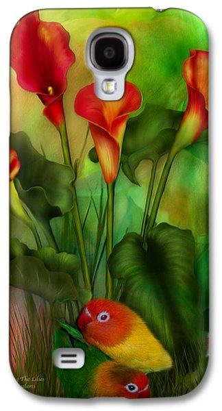 Lovebird Galaxy S4 Case - Love Among The Lilies  by Carol Cavalaris