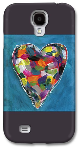 Love Is Colorful In Blue- Art By Linda Woods Galaxy S4 Case by Linda Woods