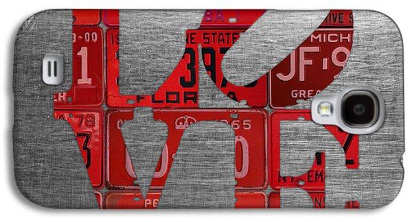 Love Sign Philadelphia Recycled Red Vintage License Plates On Aluminum Sheet Galaxy S4 Case