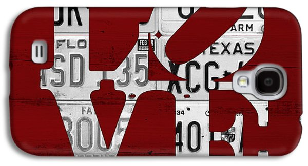 Love Sign Vintage License Plates On Red Barn Wood Galaxy S4 Case