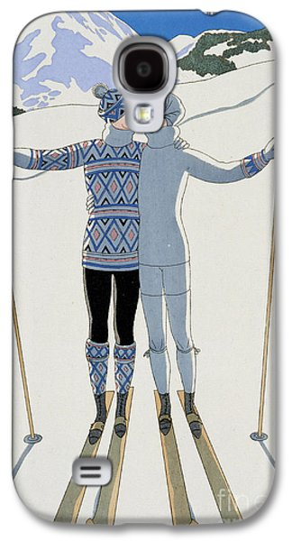 Winter Landscapes Galaxy S4 Cases - Lovers in the Snow Galaxy S4 Case by Georges Barbier