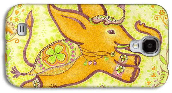 Lucky Elephant Orange Galaxy S4 Case