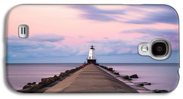 Galaxy S4 Case featuring the photograph Ludington North Breakwater Light Sunrise by Adam Romanowicz
