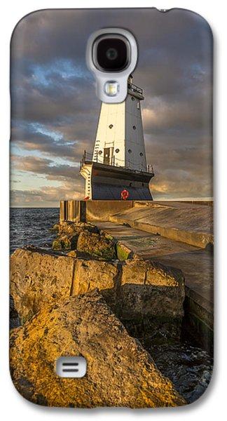 Ludington North Breakwater Lighthouse At Sunrise Galaxy S4 Case by Adam Romanowicz