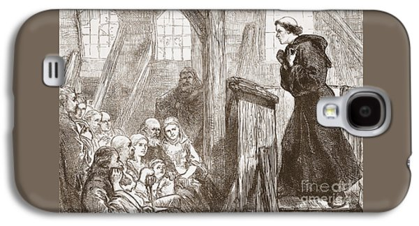 Luther Preaching In The Old Wooden Church At Wittemberg Galaxy S4 Case