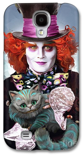 Mad Hatter And Cheshire Cat Galaxy S4 Case by Melanie D