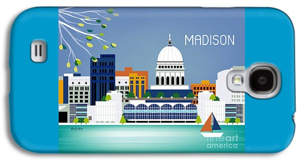 Capitol Building Galaxy S4 Case - Madison Wisconsin Horizontal Skyline by Karen Young