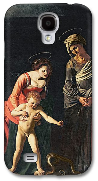 Religious Galaxy S4 Cases - Madonna and Child with a Serpent Galaxy S4 Case by Michelangelo Merisi da Caravaggio