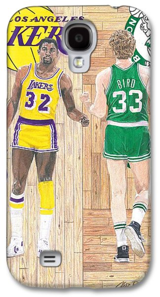 Magic Johnson And Larry Bird Galaxy S4 Case by Chris Brown