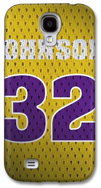Magic Johnson Galaxy S4 Case - Magic Johnson Los Angeles Lakers Number 32 Retro Vintage Jersey Closeup Graphic Design by Design Turnpike