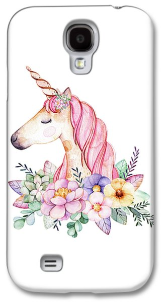 Unicorn Galaxy S4 Case - Magical Watercolor Unicorn by Lisa Spence